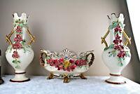 Huge Mantle set Barbotine majolica Garniture vases centerpiece set 1900 French