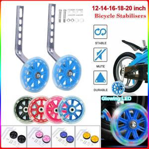 2x Universal Kids Bikes Cycle Flash Training Wheels Stabilisers Wheel 12-20inch