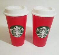 TWO STARBUCKS 2018 Holiday Cup Red Grande Reusable 16 oz Christmas w/ 2 Lids NEW