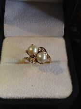 Vintage 14K Yellow Gold Cultured Pearl And Diamond Ring