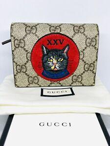 Gucci Canvas Monogram Oblo' Cat Wallet/Card Holder
