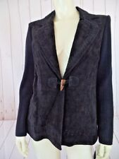 Peter Nygard Sweater Blazer S Petite Black Leather Front Cotton Acrylic Knit New