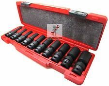 "New 10Pc 1/2"" Drive Universal Swivel Deep Impact Socket Set (SAE) PRO Radius Set"