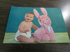 VINTAGE - EASTER POST CARD - FANTASTIC LOOKING BABY WITH PLUSH BUNNY