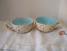 2 Marjolein Bastin Robin's Egg Speckled Coffee Mugs. 8oz size