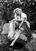 WW2 WWII Photo Girl By Stream Sally Todd 1950's Era Photo  World War Two / 8073