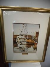 LAVERE HUTCHINGS (1918-1999) FRAMED & SIGNED MARINA REFLECTIONS WATERCOLOR PRINT