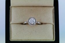 Blue Nile Halo Engagement Ring Size 5 GIA Certified .73 ctw Center Stone E-SI2