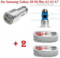 4 Samsung Galaxy S8/S9+ A3 A5 In Car Fast Charger & 2x Type-C USB Charging Cable