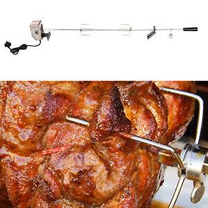 Stainless Steel Electric BBQ Rotisserie Grill Set Motor Fork Heavy Duty Roast
