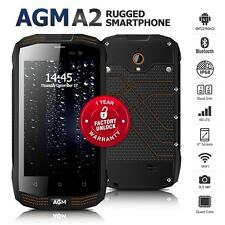 "Unlocked AGM A2 Black 4"" Dual SIM Quad Core IP68 Waterproof 4G Rugged Cell Phone"