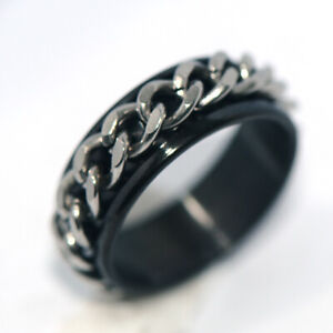 Black womens mens jewelry Chain ring spinner rings stainless steel rings size 7