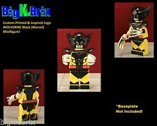 WOLVERINE Black Custom Printed & Inspired Marvel Lego Minifigure w/Chrome Claws