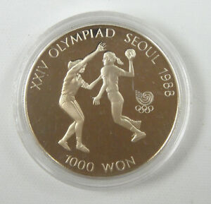 Korea-south 1000 Won, 1987, 1988 Olympics Handball UNC