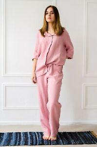 White pajama set  Wide leg pants linen  Linen pyjamas  Linen nightwear  Wedding pajamas  Sleepwear  ADELA cami top and RUTH wide pants