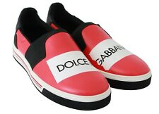 DOLCE & GABBANA Sneakers Loafers Black Red Logo Leather Shoes EU42/US9 RRP $600