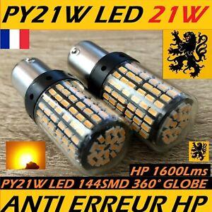2x PY21W LED HP1600Lm 1800k JAUNE AMBRE ULTRA 144SMD 12V 22W 360° ANTI ERREUR