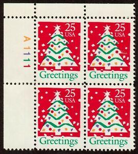 Scott 2515 25¢ Christmas Tree Plate Block of 4 MNH Free Shipping!!!
