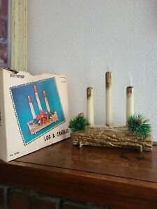 """VINTAGE """"UNION ELECTRIFIED CHRISTMAS LOG AND 3 CANDLES"""