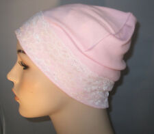 Pink Stretch Knit Sleep Play Cap wWhite Lace  Hospital  Cancer Chemo Hat