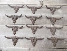 12 STEER SKULL Drawer Pulls Handles Cast Iron Rustic Texas Cowboy Bathroom Kitch