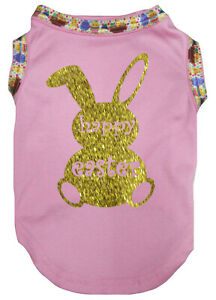 White Top T-Shirt Happy Easter Gold Bunny Pet Cat Dog Puppy One Piece Clothes