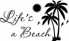 Lifes a Beach palm tree Vinyl Home Wall Decal Decor