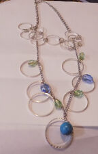 Silver Tone Chain Necklace Double Strand with  Blue & green Beads (96)