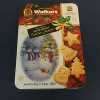 Empty walkers shortbread cookie tin Christmas cookie tin with snowman graphics
