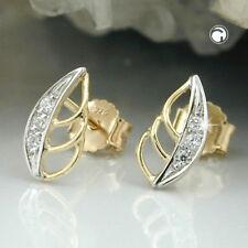 375 Ohrstecker Ohrringe Goldohrringe Stecker Blatt bicolor Zirkonia, 9Kt GOLD