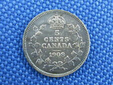 1908 CANADA KING EDWARD VII SILVER 5 CENT COIN SMALL 8