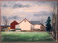 PAUL DARROW__Bucks Cnty PA Artist_Signed/Dated '46_'Barn & Farmhouse'_SHIPS FREE