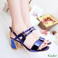 Womens Summer Sandals Casual Patent Leather High Block Heels New Shoes Plus Size