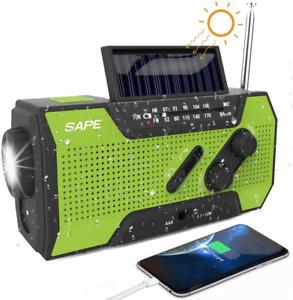 Solar Radio Powerbank LED Dynamo Outdoor Kurbelradio Mit Handyladefunktion Grün