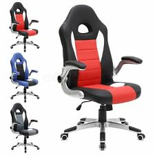 CRUZ SPORT RACING CAR OFFICE CHAIR, LEATHER, ADJUSTABLE ARMS GAMING DESK BUCKET