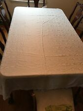 "Lace Trimmed Custom Made TABLECLOTH 64"" X 140"" White Cloth Design Rectangular"