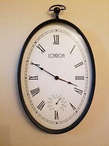 Large London Analog Hanging Wall Clock Metal Railway Vintage Look Metal & Glass