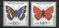 GERMANY, 1991 , BUTTERFLIES , SET OF 2 STAMPS , PERF , MNH , CV$4.10
