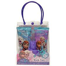NEW Disney Frozen Anna and Elsa Bath Tote 3 Pieces Body Lotion & Wash, Bath Pouf