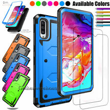 For Samsung Galaxy A70 Shockproof Hybrid Rugged Case With Glass Screen Protector