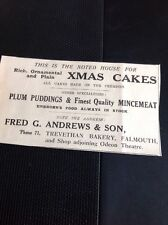 64-2 Falmouth Dec 1939 Advert Fred G Andrews & Son Bakery Plum Puddings Cakes