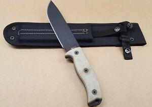 ONTARIO 8668 RAT 7 FIXED SURVIVAL KNIFE 1095 CARBON STEEL MICARTA HANDL w SHEATH