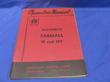 McCormick Farmall H and HV Tractor Operator's Manual Guide