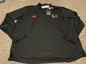 adidas Aeroready Miami Hurricanes 1/4 Zip Pullover Shirt Black Mens Size: 2XL