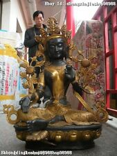 "31""Huge Tibet Buddhist Bronze Gild Green Tara Guan Yin Bodhisattva Buddha statue"
