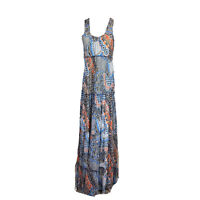 Anthropologie Made In San Francisco Maxi Dress V Neck Sz M Sleeveless Blue