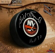 BILLY SMITH Signed New York Islanders Puck w/ HOF Inscription