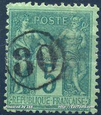 FRANCE TYPE SAGE N° 75 BELLE OBLITERATION JOUR DE L'AN N° 30 A VOIR