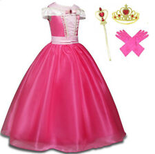 New Princess  Sleeping Beauty Fancy Dress Costume Aurora Outfit with glove Wand