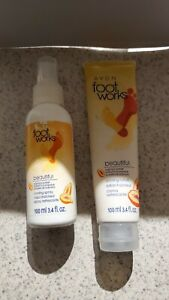 New Avon Footworks Lot of 2  Papaya Cooling Lotion & Refreshing Spray